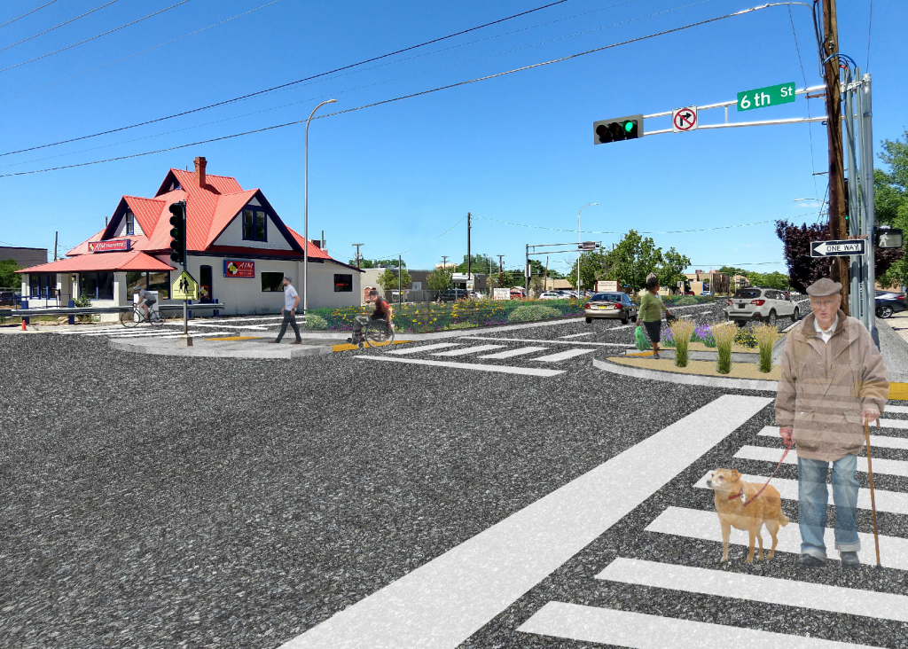 Rendering showing illustrative example of complete streets elements that could be added to the intersection including improved a crossing area, on-street parking, green infrastructure in median, and curb extensions to shorten the crossing distance for pedestrians.