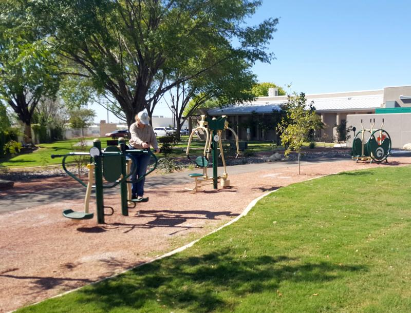 Munson Senior Center Outdoor Recreation Area Equipment In Use