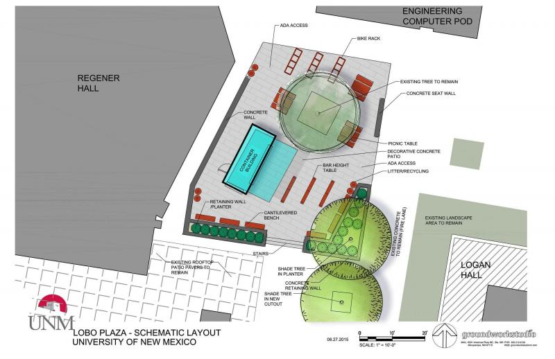 UNM Fresh Box Plaza Design