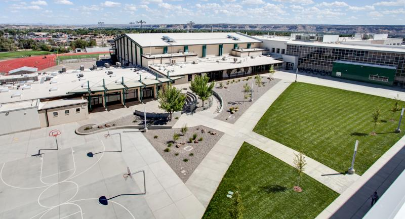 Farmington High School Aerial Courtyard Exterior